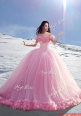 Wonderful Off the Shoulder Cap Sleeves Hand Made Flowers Quinceanera Dresses in Tulle