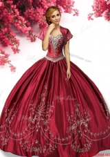 Classical Wine Red Taffeta Sweet 16 Dress with Embroidery