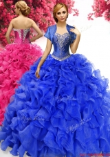 Comfortable Royal Blue Sweet 16 Dress with Appliques and Ruffles