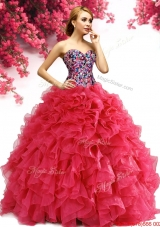 Lovely Beaded Bodice and Ruffled Organza Quinceanera Gown in Red