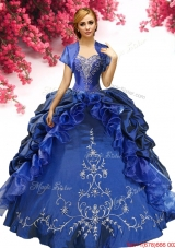Perfect Royal Blue Sweet 16 Dress with Pick Ups and Embroidery