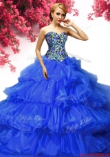 Classical Beaded and Ruffled Layers Quinceanera Dress in Royal Blue