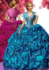 Discount Big Puffy Taffeta Quinceanera Dress with Pick Ups and Appliques