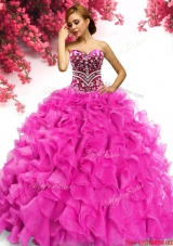 Perfect Beaded and Ruffled Quinceanera Dress in Hot Pink