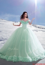Perfect Off the Shoulder Cap Sleeves Apple Green Quinceanera Dress with Hand Made Flowers