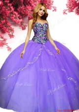 Romantic Beaded and Applique Lavender Quinceanera Dress in Tulle