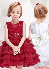 Cheap Ruffled Layers and Bowknot Short Flower Girl Dress in Red