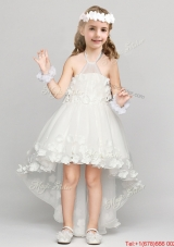 Informal Applique and Bowknot Halter Top Flower Girl Dress in High Low