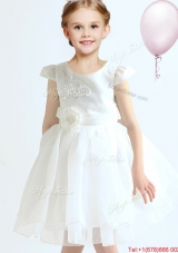 Modern Applique and Bowknot Cap Sleeves White Flower Girl Dress in Organza