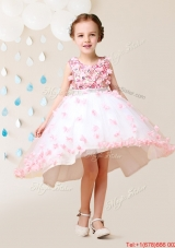 Pretty High Low Applique Scoop Flower Girl Dress in White and Pink