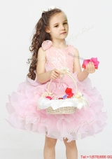 Sweet Organza Scoop Short Flower Girl Dress with Lace and Ruffles