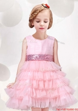 2017 Exclusive Sequined Decorated Waist Ruffled Layers Flower Girl Dress