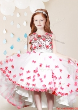Popular High Low Applique and Laced White and Red Flower Girl Dress