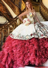 Cheap Embroideried and Ruffled Red and White Quinceanera Dress with Brush Train