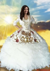 Country LifeStyle Discount Sweetheart Beaded Top White Quinceanera Dress with Embroidery and Ruffles