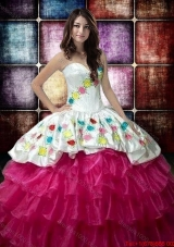 Country LifeStyle New Style Hot Pink and White Quinceanera Dress with Embroidery and Ruffled Layers