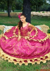 Western Style Luxurious Embroideried and Beaded Fuchsia Quinceanera Dress with Off The Shoulder