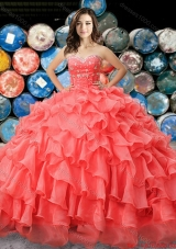Western Theme Hot Sale Beaded and Ruffled Coral Red Quinceanera Dress in Organza for 2017
