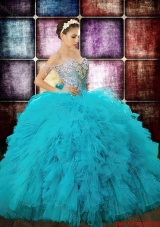 Country LifeStyle Beaded Decorated Off the Shoulder Sequined Bodice Teal Quinceanera Dress in Tulle