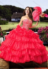 Cowgirl Elegant Beaded and Ruffled Layers Sweetheart Coral Red Quinceanera Dress in Organza