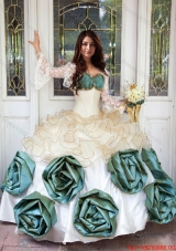 Perfect Beaded and Ruffled Sweetheart Quinceanera Dress with Hand Made Flowers
