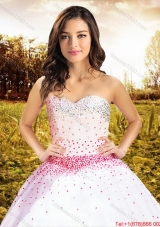 Summer Discount Big Puffy Beaded Bodice Tulle White Quinceanera Dress