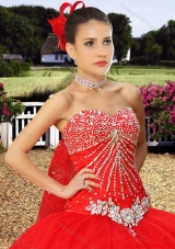 Wild West Wonderful Sweetheart Beaded and Laced Watteau Train Quinceanera Dress in Red