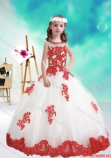 Lovely Beaded and Appliques Flower Girl Dresses in White and Red