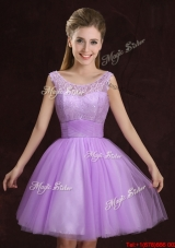 2017 Discount See Through Tulle Lilac Prom Dress with Lace and Ruching