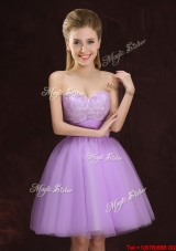 Fashionable A Line Sweetheart Laced and Ruched Lilac Dama Dress