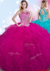 Simple Fuchsia Halter Top Quinceanera Gown with Beading and Ruffles