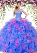 Cheap Organza Ruffled and Beaded Quinceanera Gown in Two Tone