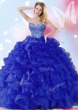 Classical Organza Beaded and Ruffled Quinceanera Dress in Royal Blue