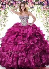 Discount Ball Gown Fuchsia Quinceanera Dress with Beading and Ruffles