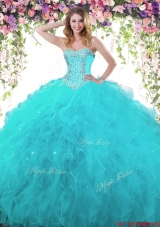 Discount Ball Gown Sweetheart Beaded and Ruffled Teal Quinceanera Dress