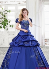 Discount Taffeta Applique and Bubble Bowknot Quinceanera Gown in Royal Blue