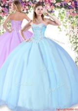 Exclusive Big Puffy Beaded Sweet 16 Dress in Baby Blue for Summer