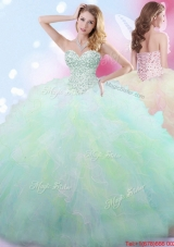 Gorgeous Ruffled and Beaded Rainbow Quinceanera Dress in Tulle