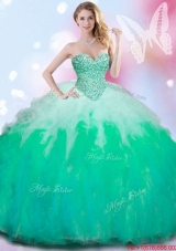 Inexpensive Beaded Bodice and Ruffled Gradient Color Quinceanera Gown