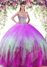 Inexpensive Big Puffy Rainbow Tulle Sweet 16 Dress with Beading