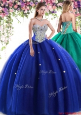 Lovely Tulle Beaded Big Puffy Quinceanera Dress in Royal Blue