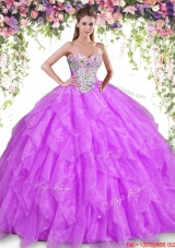 New Arrivals Organza Beaded and Ruffled Lilac Quinceanera Dress