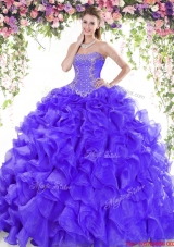Popular Beaded and Ruffled Organza Quinceanera Dress with Brush Train