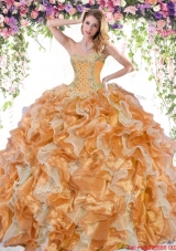 Wonderful Organza Beaded and Ruffled Quinceanera Dress in Two Tone