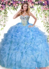 Cheap Organza Beaded and Ruffled Quinceanera Dress in Baby Blue
