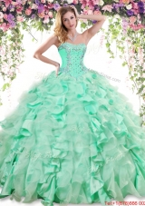 Classical Beaded and Ruffled Apple Green Sweet 16 Dress in Organza