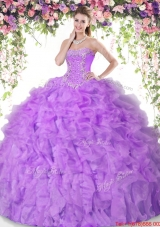 Luxurious Really Puffy Beaded Lilac Quinceanera Dress with Ruffles