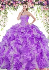 Perfect Organza Two Tone Quinceanera Dress with Beading and Ruffles