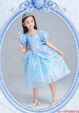 Halloween Infant Square Zipper Up Light Blue Little Girl Pageant Dress in Tea Length