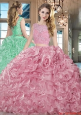 Best Selling Really Puffy Brush Train Organza Pink Quinceanera Dress with Lace